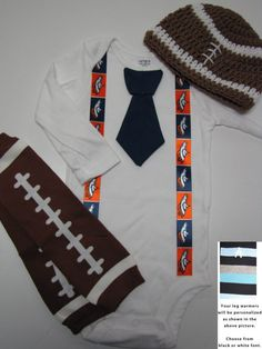 DENVER BRONCOS inspired football outfit for baby boy - tie onesie with suspenders, crochet hat, leg warmers