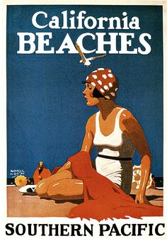 1923 California Beaches Travel Advertisement Art Picture Poster