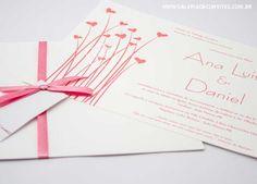 convite de casamento buquê de corações em rosa - Galeria de Convites