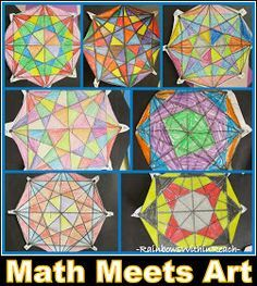 Exploring Math in Primary Grades through Artistic Math Projects cool-for-school-art-lessons-and-more Art Lessons Elementary, Math Lessons, Math Meeting, Classe D'art, Math Projects, Math Crafts, Ecole Art, Math Art, Middle School Art