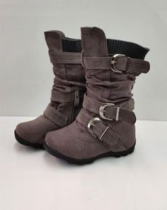 Toddler GIRLS Hot Elegant GRAY Sude Boots Size 4,5,6,7,8 FAST SHIPPING GREY #Boots