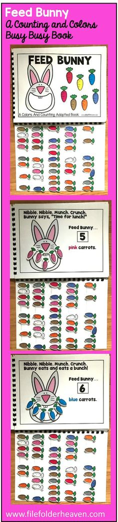 This Feed Bunny Colors and Counting Adapted Book is an adapted book that focuses on colors and counting in a fun and interactive way.  In a small group, independent center or independent work station. A teacher or student reads through the book and feeds the animal or critter, the correct number and color the food on each page.  Sample text: