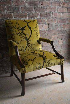 Birdbranch Stripe Velvet Chair available at walnut wallpaper #wallpaper #upholstery