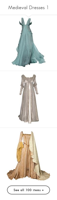 """Medieval Dresses 1"" by younglovesnightmare ❤ liked on Polyvore featuring dresses, GameOfThrones, got, medieval, medievaldresses, gowns, long dresses, vestidos, green gown and long green dress"