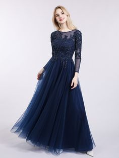 Peacock Martha Tulle with Appliqued Long Sleeves Dress Grey Evening Dresses, Navy Prom Dresses, Prom Dresses Long With Sleeves, Dance Dresses, Simple Dresses, Pretty Dresses, Beautiful Dresses, Bridesmaid Dresses, Blue Dress Outfits