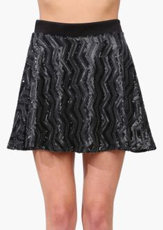 chevron sparkle skater skirt