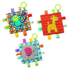 Buy all 3 Taggies and save. This offer includes the  Elephant, giraffe and monkey.   Part soother, part activity toy, Taggies™ Crinkle Me has an appealing character applique on colourful patterned fabric, crinkle paper and a squeaker on the inside, with a fl exible loop for attaching to a stroller or crib.