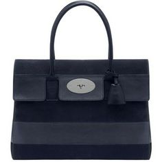 MULBERRY Bayswater Nubuck Striped Leather Bag - Midnight Blue
