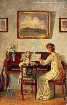 The Piano Lesson ~ Karl Harald Alfred Broge (Danish, Piano Y Violin, Piano Art, Music Painting, Art Music, Paintings I Love, Beautiful Paintings, Piano Lessons For Beginners, Music Lessons, Anime Comics