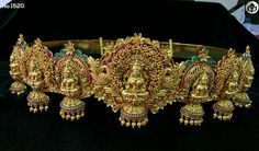 Rs 7000 . Beautiful waist belt with lakshmi devi design. Vadanam with jumkhi hangings. 10 November 2017