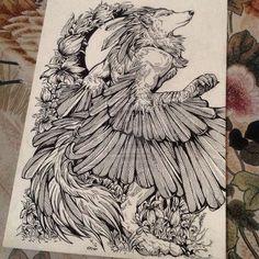 http://wolfskulljack.deviantart.com/art/The-winged-Fox-504653885