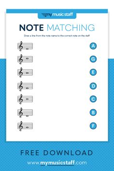 Treble Clef Note Matching - Free Music Activity Sheet from My Music Staff Music Theory Lessons, Music Theory Worksheets, Piano Lessons, Music Theory Piano, Piano Music, Piano Practice Chart, Middle School Music, Piano Teaching, Learning Piano