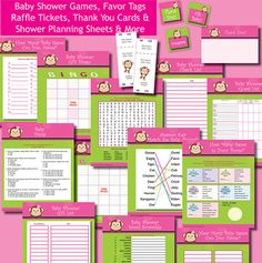 INSTANT DOWNLOAD Girl Mod Monkey Baby Shower Printable VALUE Game Pack Favor Tags Raffle Jacana Pink Green. $6.99, via Etsy.