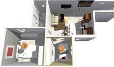 Vista de detalle de zona de dormitorios y salón.