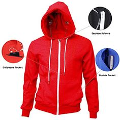 Men's Clothing - MAJECLO Mens Lightweight Slim Fit Zip Up Hoodie Sweatshirt With Cellphone Pocket ** You can get additional details at the image link. (This is an Amazon affiliate link)