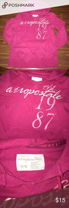 Aeropostale Medium Hoodie Aeropostale Medium Hoodie, Pink in color, worn condition, no holes or stains I can see Aeropostale Tops Sweatshirts & Hoodies