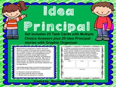 These differentiated SPANISH Task Cards for Idea Principal (Main Idea) include 20 Task Cards with multiple choice questions plus 20 stories with graphic organizer for each story. This set is great for differentiated instruction and small groups. Teacher Boards, Elementary Teaching, Differentiated Instruction, Main Idea, Dual Language, Multiple Choice, Spanish Class, School Resources, Graphic Organizers