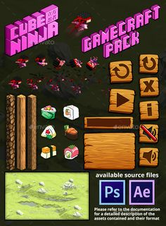 CUBE NINJA GAME ASSETS  This Graphic Pack is used in Cube Ninja You can try the game here What Will You Get?  Sources Folder conta