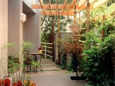12 Budget-Friendly Backyards: A small side entry is transformed into usable garden space with a stylish pergola that blocks the view of second-story neighbors and creates sufficient shade for the large windows. (Design by Pamela Berstler)  From DIYnetwork.com