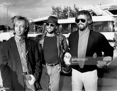 Brothers Robin Gibb, Maurice Gibb and Barry Gibb of the 'Bee Gees' after arriving at Sydney International Airport, Mascot in Sydney, New South Wales.