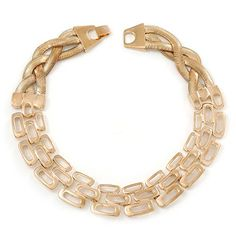 Statement Polished Open Square Link Choker Necklace In Gold Plating - 36cm Length -- Want to know more, visit