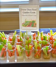 How Does Your Garden Grow ranch and hummus dips. Perfect appetizer for a nursery rhyme or storybook baby shower.