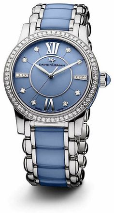 David Yurman Classic 34Mm Stainless Steel Quartz Watch With Diamonds in Blue (steel)