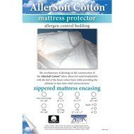 AllerSoft Mattress Protectors - All Cotton - Queen 9 inch depth by AllerSoft. $65.95. Care Instructions: Machine wash warm and dry up to 140F or hang dry.. Helps relieve your allergy, sinusitis, allergic eczema, asthma, sinus pressure, and more. Thread Count: 285 threads per square inch.. Average Pore Size: 4.91 microns.. Totally breathable and membrane-free.. AllerSoft's 100% Cotton Mattress Protector zips around your mattress to form a highly effective shield again...
