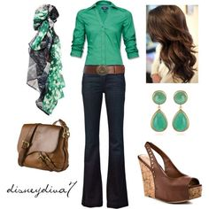Spring Style for over 35 ~ I love green and brown together.  LOVE the shoes and the earrings. And the scarf!