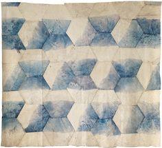 Jean-Pierre Pincemin Hexagones collés (Carrés collés), 1969 Toile libre, assemblage d'hexagones coupés et collés 272 x 304 cm Centre Pompidou, Paris