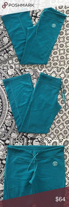 Lululemon Relaxed Fit Yoga Pants Lululemon relaxed fit drawstring yoga pants in a teal blue color!! No marked size but my best guess would be a lulu 6/8. They're an older design with the logo on the front but are in perfect condition😊 Price is negotiable especially if bundled lululemon athletica Pants
