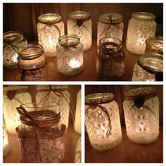 Simply beautiful homemade lace covered jam jars. Add a tea light for instant vintage glam x