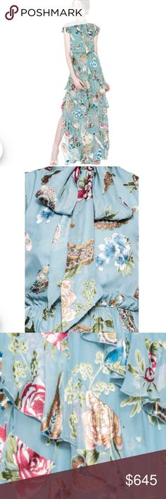 Alice + Olivia Lessie Floral Maxi Dress Alice + Olivia Lessie Floral Maxi Dress  Ruffle dress with neckline Zip fastening Short sleeves Floral print Burnout detailing 52% viscose, 48% silk Dry clean Alice + Olivia Dresses Maxi