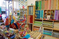 Inside my favourite fabric and haberdashery shop in Rochester, Hometown.
