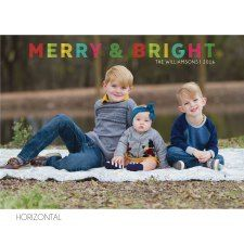 Horizontal Merry & Bright Holiday Photo Card by KateOGroup. #MerryAndBright #HolidayCard #ChristmasCard #HolidayPhotoCard  www.KateOGroup.com