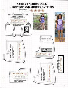 Free Printable Sewing Patterns, Barbie Sewing Patterns, Doll Clothes Patterns, Clothing Patterns, Doll Patterns, Barbie Summer, Shirt Tutorial, Patterned Shorts, Fashion Dolls