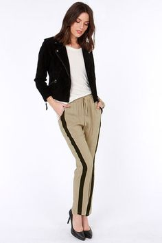 LULUS Exclusive Places to Be Black and Taupe Pants 24.50
