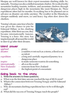 Grade 3 Reading Lesson 14 Biographies - Tenzing Norgay Sherpa (1)