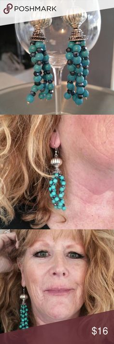 GORGEOUS EARRINGS Turquoise and silver earrings ...really really fun and chic turquoise & silver YUGE Jewelry Earrings