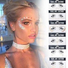 £ GBP - Disposable Gold Face Tattoo Sticker Temporary Body Art Bronzing So . - £ GBP – Disposable Gold Face Tattoo Sticker Temporary Body Art Bronzing So …, # - Face Tattoos, Body Art Tattoos, Sleeve Tattoos, Sun Tattoos, Maquillage Halloween, Halloween Makeup, Coachella Make-up, Diy Beauty Hacks, Music Festival Makeup