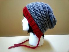 Red and Grey Gray Beanie Bonnet Slouch  Crochet by YarnOverDesign