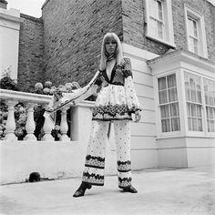 Amanda Lear, 1968 dressed in Ossie Clark dress w/ Celia Birtwell print