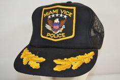 Vtg Miami Vice Police Black Trucker Baseball Cap Snap Back #SportCap #BaseballCap #ebayROCteam