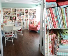 House of Turquoise: Camille Roskelley- Check out this sewing room. It is a gorgeous room. The colors! It's too much. These are the I want in my daughter's bedroom.