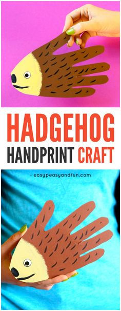Handprint Hedgehog Craft for Kids. Simple Fall Craft Idea for Kids to Make with Paper.