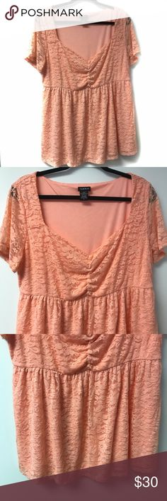 Torrid Plus Size Pink Lace Babydoll Top Torrid Plus Size Pink Lace Babydoll Top  Plus Size Pink Lace Babydoll Top Size 0X Brand Torrid Fabric Nylon Spandex with Polyester Lining RN 148862  Measurements Length: 26 inches Chest: 19 inches laying flat underarm to underarm  * Excellent condition with no sign of wear, tear, or stains. * Smoke Free Home * Pet Free Home * Daily Shipper * Save with bundle discount! * Open to reasonable offers. torrid Tops Blouses
