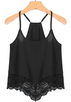 To find out about the Spaghetti Strap Lace Black Cami Top at SHEIN, part of our latest Tank Tops & Camis ready to shop online today! Black Lace Tank Top, Lace Crop Tops, Black Vest, Cami Tops, Black Ruffle, Mode Monochrome, Lace Camisole Top, Embellished Crop Top, Black Laces