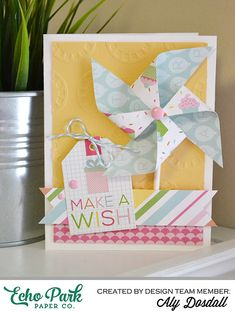 *Echo Park* Make A Wish Card - Scrapbook.com - Create a big pinwheel for the front of a fun handmade birthday card.