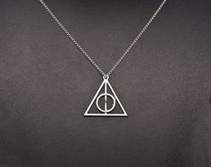 Harry Potter Deathly Hallows Necklace lariat necklace in white gold,Bridesmaid gift idea,Personalized Necklace on Etsy, $8.00