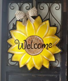 Sunflower burlap door hanger Summer or fall by ConnieRisleyCrafts